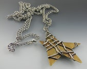 Big Brass and Sterling Star Pendant with Long Stainless Steel Chain
