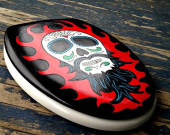 ELONGATED Day Of The Dead Skull with Beard Toilet Seat Wood Hand Painted Dad Grad Gift Man Cave Witch Way Designs