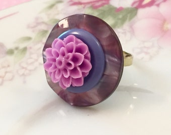 Purple Flower Ring, Button Flower Ring, Big Chunky Ring, Cocktail Ring, Vintage Button Ring, Blue Gray Lavender, Handmade KreatedByKelly