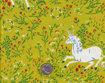 Half yard Heather Ross Far Far Away - Green Unicorns -  cotton quilt fabric