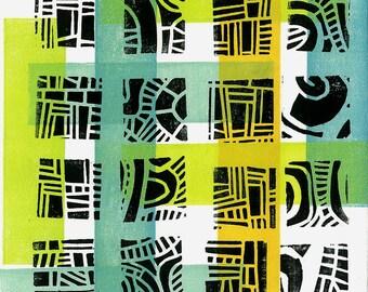 "LINOCUT RELIEF  PRINT - Mod Pattern 3 - Mid Century Modern Linoleum Block Print 6""x6"" - Ready to Ship"