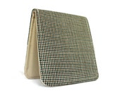 Vegan Billfold Mens Wallet / Minimalist Tan Houndstooth Tweed / OhSoRetro