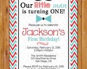 Little Man Birthday Invitation Mustache Bow Tie Invite Aqua Red Chevron Party First Birthday DIY Digital 5x7 Digital JPG (402)