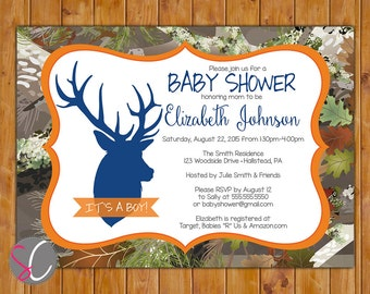 Buck Camo Invite Oak Camouflage Boy Baby Shower Orange Navy Blue Deer Silhouette Invitation Hunting Digital JPG 5x7 (316)