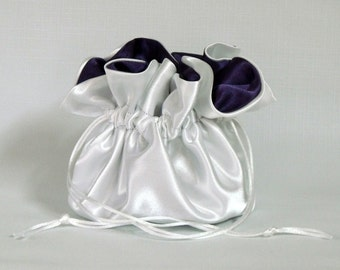 Money Dance Bag,  White and Eggplant,  No Pockets