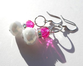 White & Pink Earrings