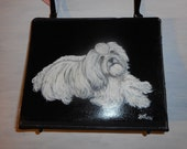 Havanese Dog Hand Painted Bag Handbag Purse 3 for the price of 1