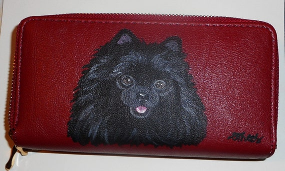 Pomeranian Dog Painted Womens Leather Wallet
