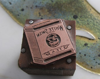 White Swan Tea Vintage Letterpress Printing Block