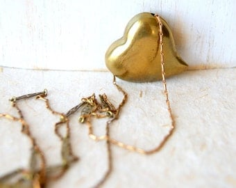 Brass Heart Necklace - vintage brass heart with vintage chain