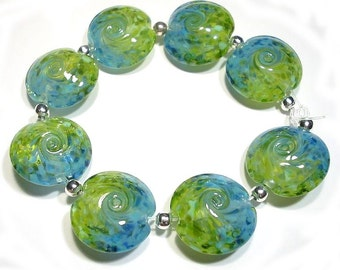 Land to Sky Twist Lentils, Sra  Handmade Glass Lampwork  Beads