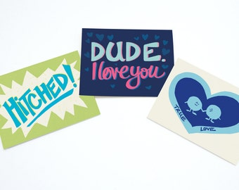 Love Greeting Card Illustrated Fun Valentines Day Set Pack