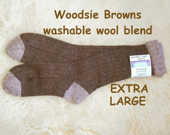 Woodsie Browns - made with Wool-Ease washable yarn - wool acrylic blend --- EXTRA LARGE