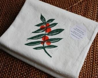 Orange Branch - Soft Cotton Flour Sack Towel - Orange Tree Tea Towel - Hand Block Printed - READY TO SHIP