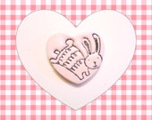 Cute Bunny Pin, Heart Jewelry, Bunny Brooch, Sparkly Bunny Rabbit Pin, Easter Bunny, Choose Your Color, whimsical polymer clay