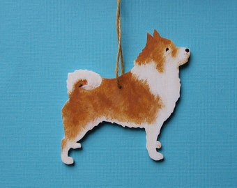 Iceland Dog Hand Painted Wood Ornament Icelandic Sheepdog Friaar Dog