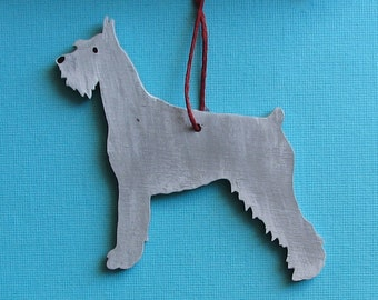 Giant Schnauzer Dog - Handpainted Wood Ornament Decoration