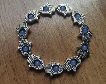 Handmade HAMSA Charm & Sapphire Glass Bead Bracelet