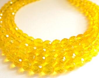 Alana - Yellow Glass Bridesmaid Statement Necklace