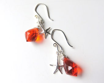 Bright Orange Starfish Earrings, Sterling Silver and Orange Dangle Earrings, Wire Wrapped Faceted Quartz, Bright Citrus Earrings, Beach