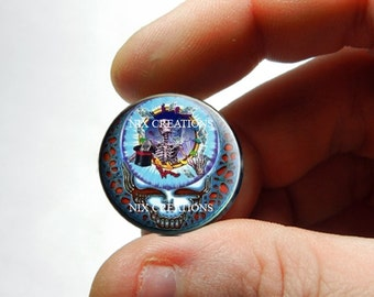 25mm 20mm 16mm 12mm 10mm or 8mm Glass Cabochon - Grateful Dead Steal Face Head Design 7  - for Jewelry and Pendant Making