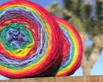 Fingering Weight Yarn - Merino Wool Superwash - Self Striping Yarn - Rainbow