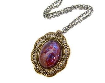 Art Nouveau Pendant Necklace, Dragons Breath Necklace, Antiqued Brass Chain, Colorful Flash Glass Cabochon, Gift for Mom Her Friend