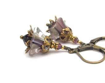 Purple Flower Earrings Vintage Glass Flower Earrings Purple Amethyst Jet Cosmos Swarovski Crystals