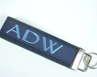 Classic Navy Monogram Key Fob, Father's Day Gift