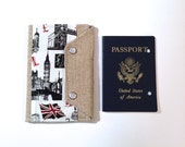 London Passport Wallet- Family Passport Cover Case- In Touch Clutch for Moleskine Journals and Passports- London UK Dr. Who and Sherlock