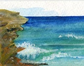 ACEO Wild Side of Aruba watercolors paintings original. Ocean art card, Small beach painting, miniature watercolor painting