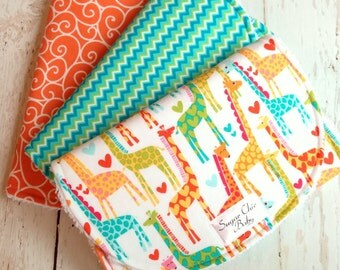 Baby Burp Cloths Gender Neutral - Super Absorbent Chenille Triple Layer  - Set of 3  -  Giraffe Love, Tangerine Swirly & Blue Green Chevron
