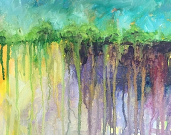 Abstract Acrylic Landscape 12x12 gallery wrap canvas original painting