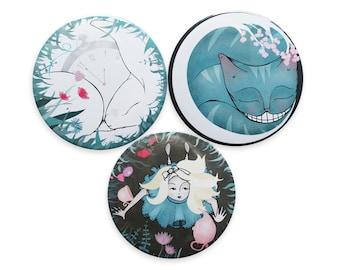 Alice in Wonderland Badges Pins / fridge magnets - cheshire cat white rabbit alice badge pin brooch - set of 3