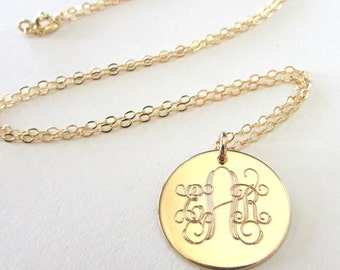 Gold Monogram Necklace - Traditional Initial Pendant - 14K Gold Filled Charm, Chain - E. Ria Designs TOO