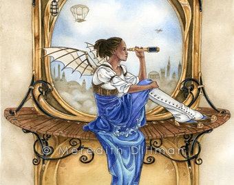 Steampunk fairy, art nouveau, airship, black fairy, fantasy art print, 8x10, mechanical wings - the Lookout,