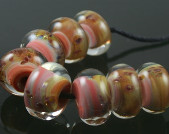Handmade Lampwork Boro Beads Set of 8 Boro Borosilicate Glass StoneyMarie