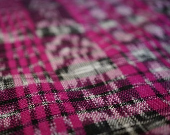 Vintage Magenta Fuschia Fabric Guatemalan Ikat Woven Upholstery Fabric Crafts Supplies Sewing Quilting Needle Crafts Fabric by the Yard 80s
