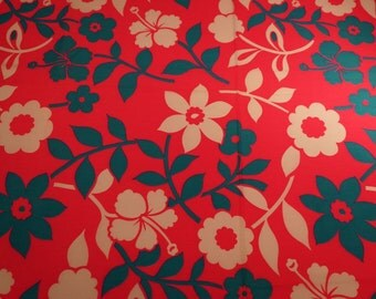 Vintage Fabric Neon Pink Turquoise Craft Supplies Floral Fabric Tropical Fabric Retro Hawaiian Fabric Cotton Sewing Quilting Yardage