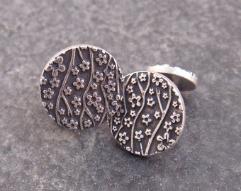 Cherry Blossom Cuff Links in Sterling Silver