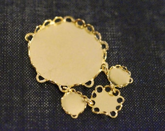 Circles Lace Edge Statement Chandelier Pendant - Tarnish Resistant 22k Gold Plated - 1pc