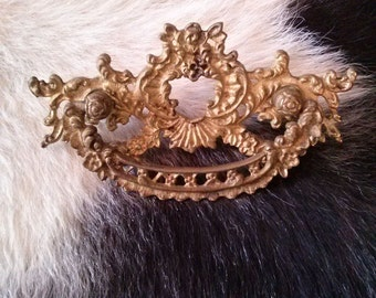 Vintage 1800s Drawer Pulls Brass Ornate Victorian 4 Count 2014123J51