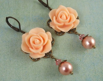 Peach Filigree Flower Earrings