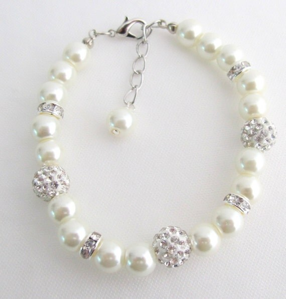 Wedding Bracelet,Wedding Pearl Bracelet, Ivory Pearl Bracelet, Rhinestone Bracelet,Bridesmaid Pearl Bracelet Wedding Gift Free Shipping  USA