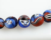 Colorful Indian Millefiori Face Beads OLD 12-14mm  (5 beads)