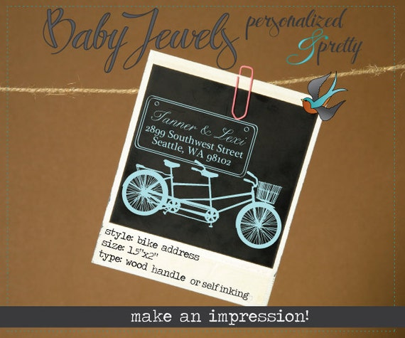 Custom Rubber Stamp - Tandem Bike for return address