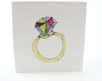 Square Greeting Card: Ring Bling