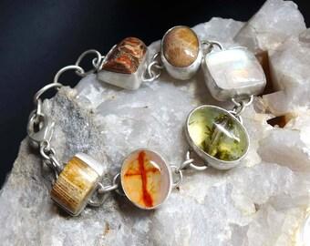 Chunky Artisan Gemstone Bracelet Moonstone Prehnite Fossil Coral Cross Agate Bracelet Sterling Silver