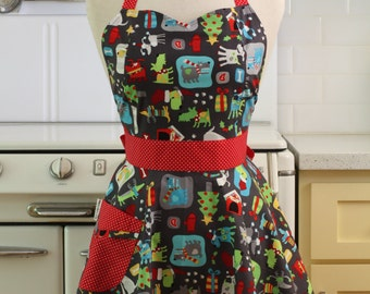 Retro Apron Christmas Dogs - BELLA