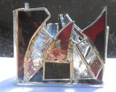 Purple Zen Triangle Shaped Rainbow Themed Stained Glass Candle Holder